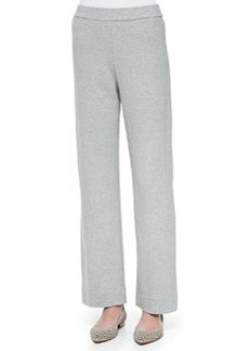 Joan Vass Full-Length Jog Pants, Gray Heather