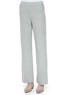 Joan Vass Full-Length Jog Pants, Gray Heather, Women's