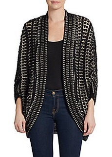 Joan Vass Gathered Sleeved Knit Cardigan