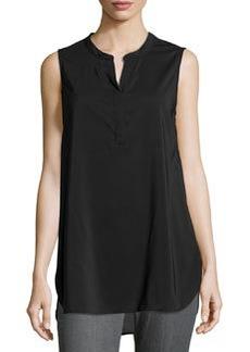 Joan Vass Half-Placket Sleeveless Tunic, Black