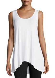 Joan Vass High-Low Scoop-Neck Tank, White Mariner