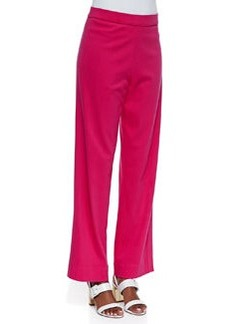 Joan Vass Interlock-Knit Full-Length Pants, Petite