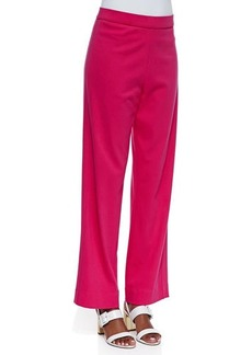 Joan Vass Interlock-Knit Full-Length Pants, Women's