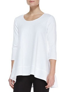 Joan Vass Interlock-Knit High-Low Tunic, Petite