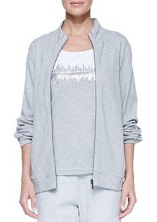 Joan Vass Interlock Stretch Zip-Front Jacket, Petite