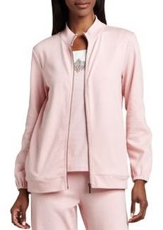 Joan Vass Interlock Zip Jacket, Petite