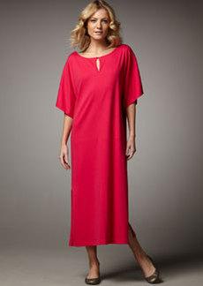 Joan Vass Keyhole-Detail Long Dolman Dress