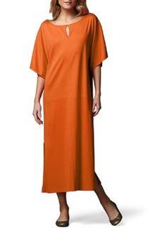 Joan Vass Keyhole-Front Long Dolman Dress, Petite