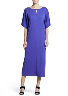 Joan Vass Keyhole-Front Long Dolman Dress, Women's