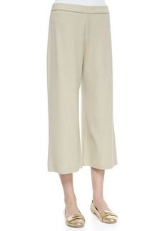 Joan Vass Knit Cropped Wide-Leg Pants