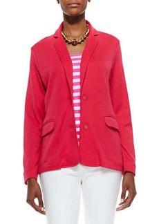 Joan Vass Knit Two-Button Jacket, Azalea, Petite