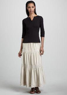 Joan Vass Lace-Trim Tiered Maxi Skirt