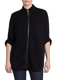 Joan Vass Leather Accented Zip-Front Cardigan