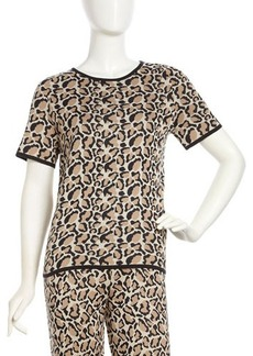 Joan Vass Leopard-Print Short-Sleeve Sweater