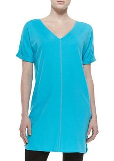 Joan Vass Long Cotton Interlock Tunic, Petite