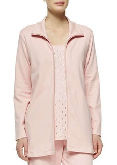 Joan Vass Long Interlock Zip Jacket, Petite
