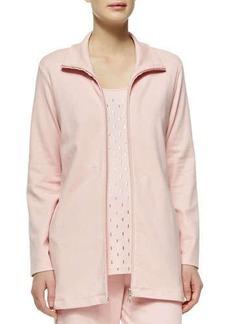 Joan Vass Long Interlock Zip Jacket, Women's