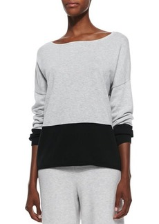 Joan Vass Long-Sleeve Colorblocked Cotton Top, Petite