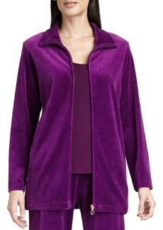Joan Vass Long Velour Zip-Front Jacket