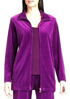 Joan Vass Long Velour Zip-Front Jacket