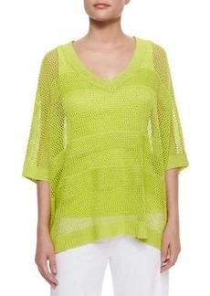 Joan Vass Mesh Striped Sweater, Women's