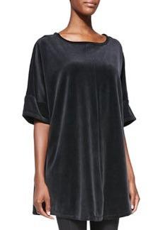 Joan Vass Missy Long-Sleeve Velour Tunic, Majestic Plum, Petite