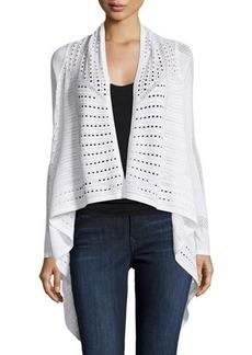 Joan Vass Open-Knit Draped Long-Sleeve Cardigan