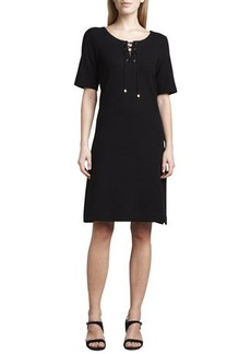 Joan Vass Pique Lace-Up Dress