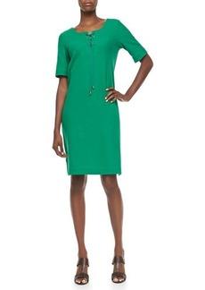Joan Vass Pique Lace-Up Shift Dress