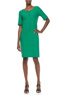 Joan Vass Pique Lace-Up Shift Dress, Petite