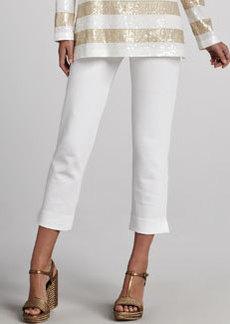 Joan Vass Ponte Slim Ankle Pants