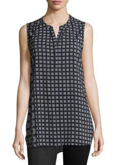 Joan Vass Printed Sleeveless Tunic, Black Combo
