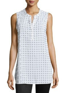 Joan Vass Printed Sleeveless Tunic, White Combo