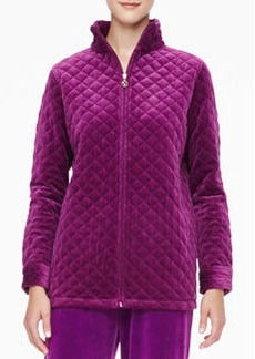 Joan Vass Quilted Velour Jacket, Petite