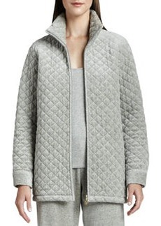 Joan Vass Quilted Velour Long Jacket, Petite