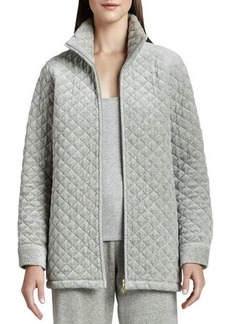 Joan Vass Quilted Velour Long Jacket, Women's