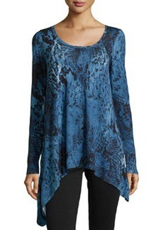 Joan Vass Asymmetric Graphic-Print Jersey Tee, Blue