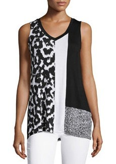 Joan Vass Republic Colorblock Sleeveless Tunic, Animal/Ikat