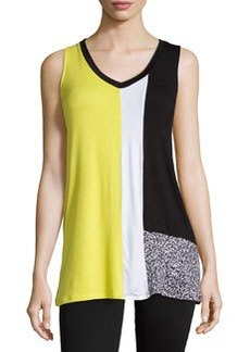 Joan Vass Republic Colorblock Sleeveless V-Neck Tunic, Citrus Flash/Combo