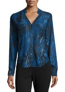 Joan Vass Graphic-Print Chiffon Blouse, Blue