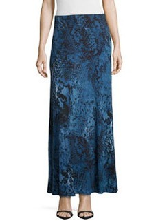 Joan Vass Graphic-Print Maxi Skirt, Blue