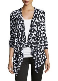 Joan Vass Republic Ikat 3/4-Sleeve Cardigan, Black/White