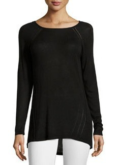 Joan Vass Republic Long-Sleeve Bateau-Neck Tunic, Black