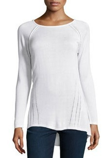 Joan Vass Republic Long-Sleeve Bateau-Neck Tunic, White Stone