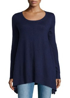 Joan Vass Long-Sleeve Knit Sweater, Bristol Blue