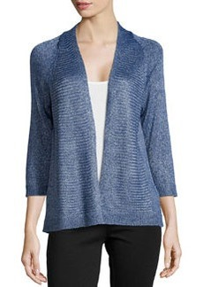 Joan Vass Long-Sleeve Metallic Knit Cardigan, Tide Pool