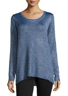 Joan Vass Long-Sleeve Metallic Knit Tunic, Tide Pool