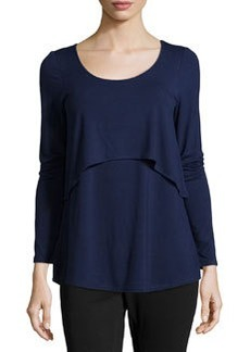 Joan Vass Long-Sleeve Tiered Jersey Tee, Bristol Blue