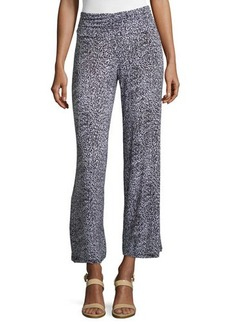 Joan Vass Republic Printed Shirred-Waist Wide-Leg Pants