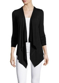 Joan Vass Republic Ruched-Sleeve Draped Cardigan, Black